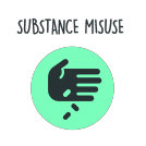 substance miuse with words transparent