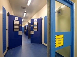 Cell corridor with cell doors open