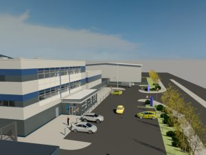 Artist's impression of the completed Eastern PIC looking down on the front of the building from the far left