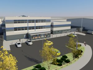 Artist's impression of the completed Eastern PIC from the road to the left of the building, at a height