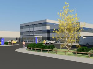 Artist's impression of the completed Eastern PIC from the road and to the right of the building