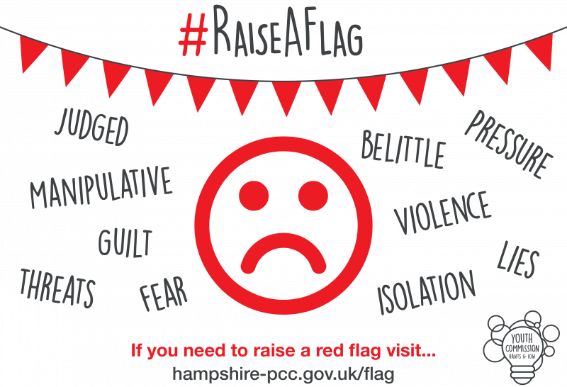 Raise a Flag: words that describe negative relationship traits, including manipulative, guilt, violence, fear, and pressure.