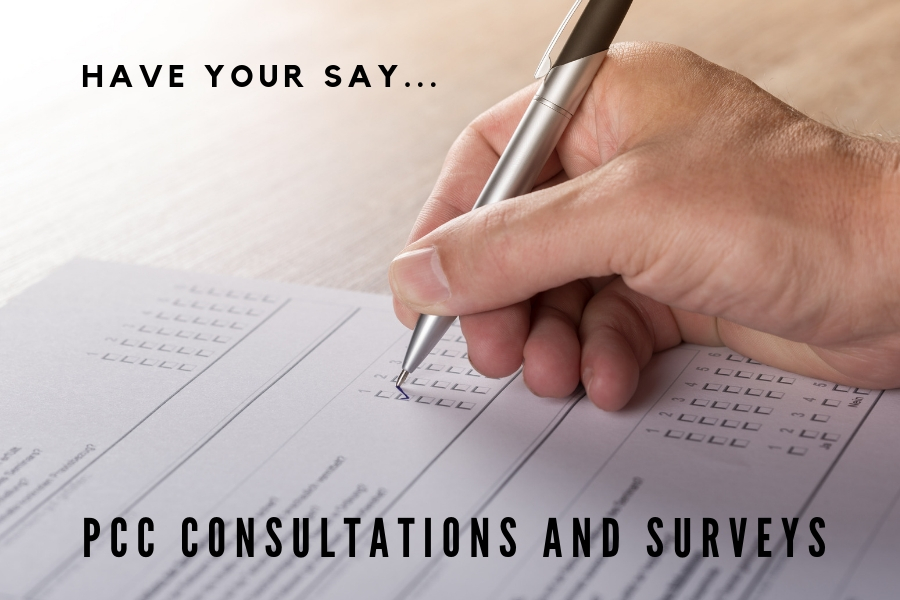 Have your say, PCC consultations and surveys. A hand holding a pen is filling in a form