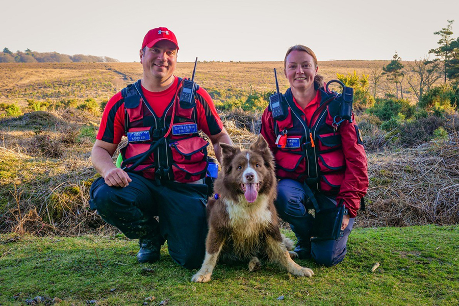 Kev Saunders, search dog Zak, and Ali Orchard.