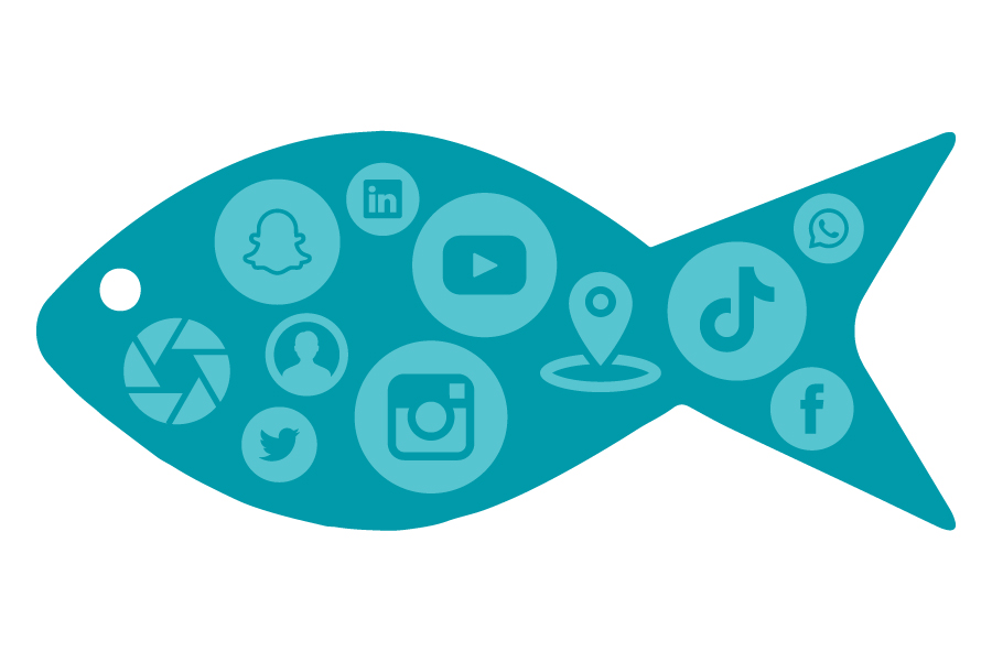 Go Fish logo containing social media logos