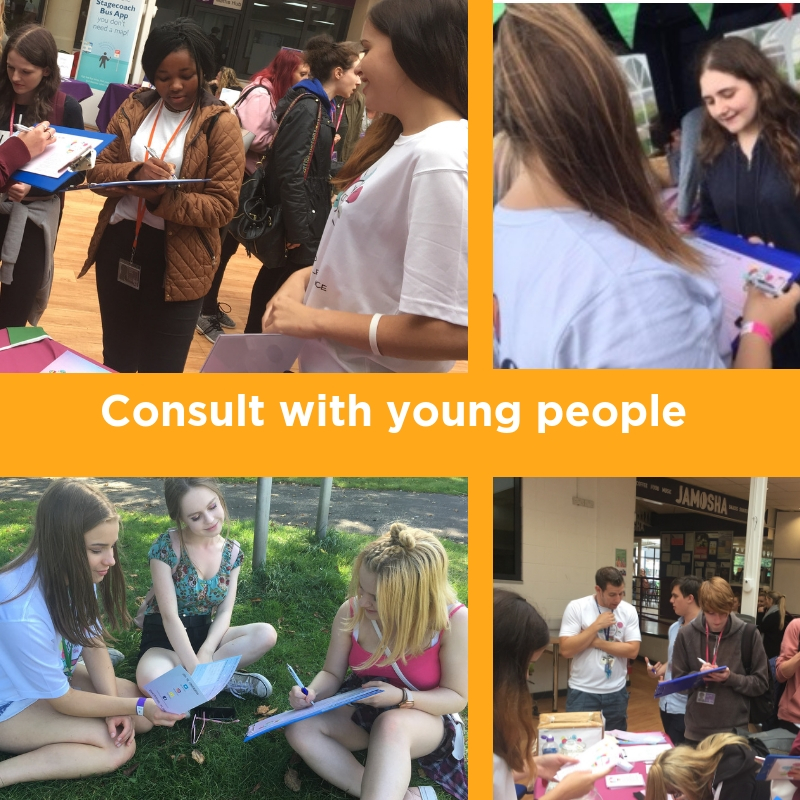 Youth Commission members consulting with other young people
