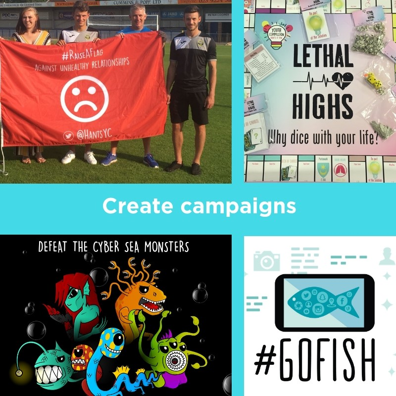Youth Commission created campaigns (raise a flag, lethal highs, Cyber Ambassadors, Go FISH)