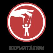 Exploitation logo: a hand manipulating a puppet