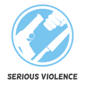 serious violence logo: a gun, a fist and a knife.
