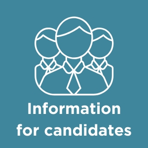 Button linking to the information for candidates page