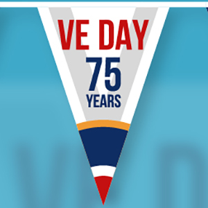 "A bunting flag on a blue background, on the flag says ""VE Day 75 years""."