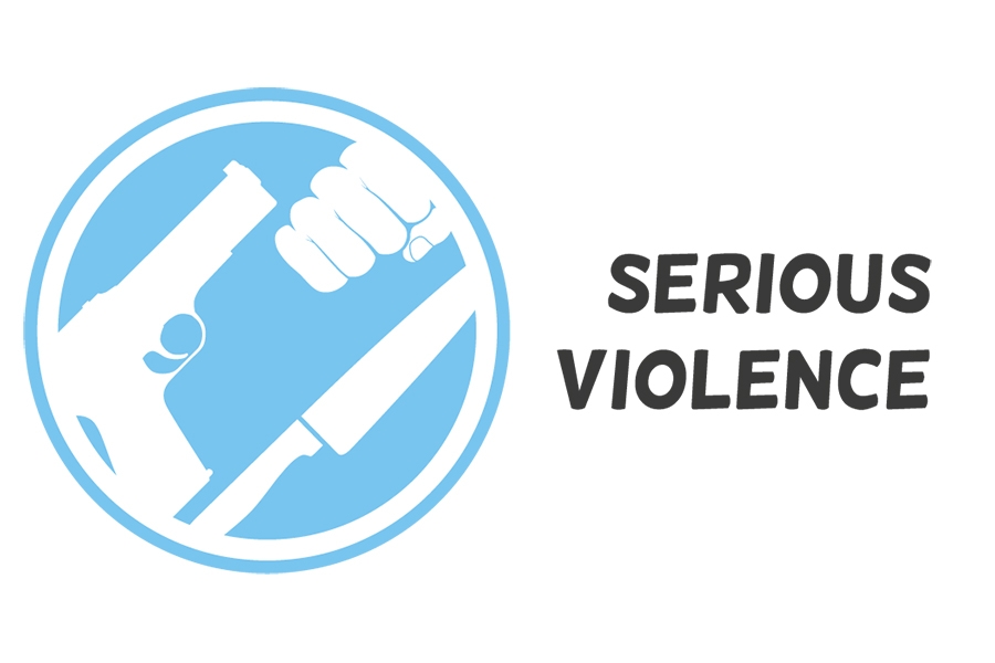 Serious Violence logo with a fist, gun, and knife illustrated in a blue circle.