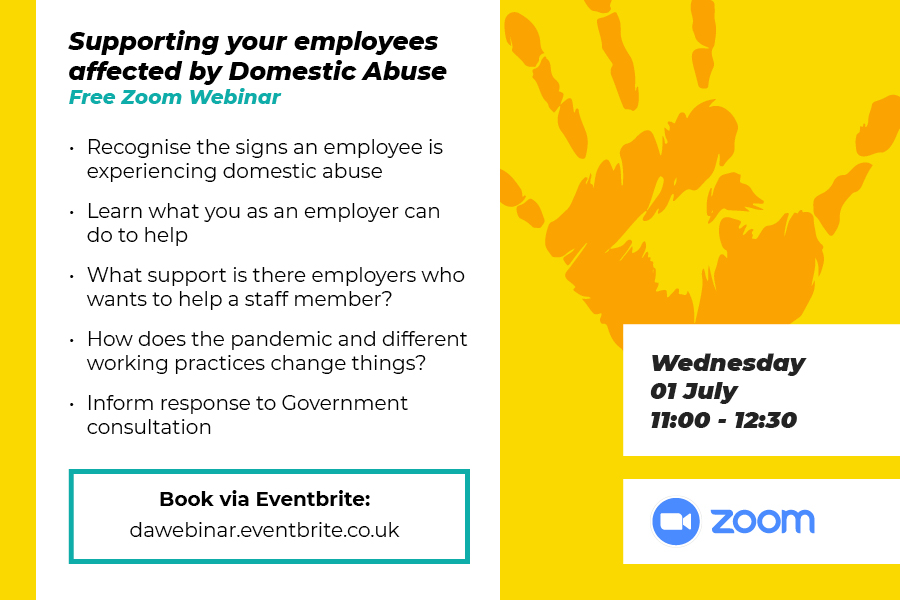 Supporting employees affected by domestic abuse: webinar advert