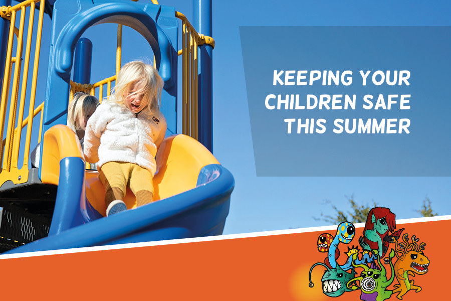 Keeping your children safe this summer: photo of a child on a slide, and an illustration of the cyber sea monsters