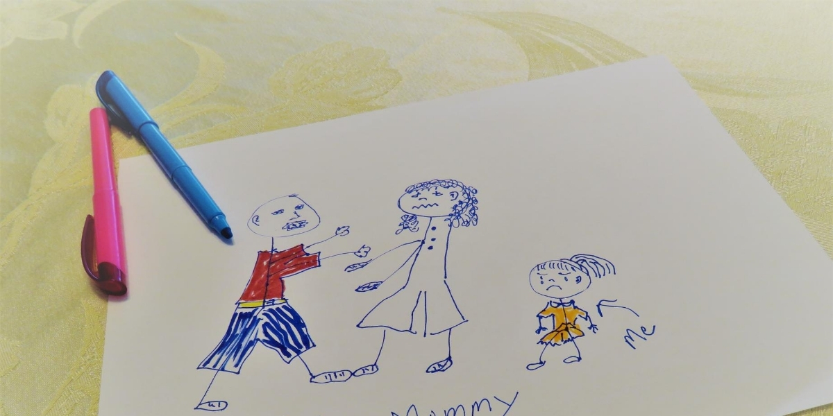 A child's drawing of domestic abuse between two parents, the child depicts herself crying.