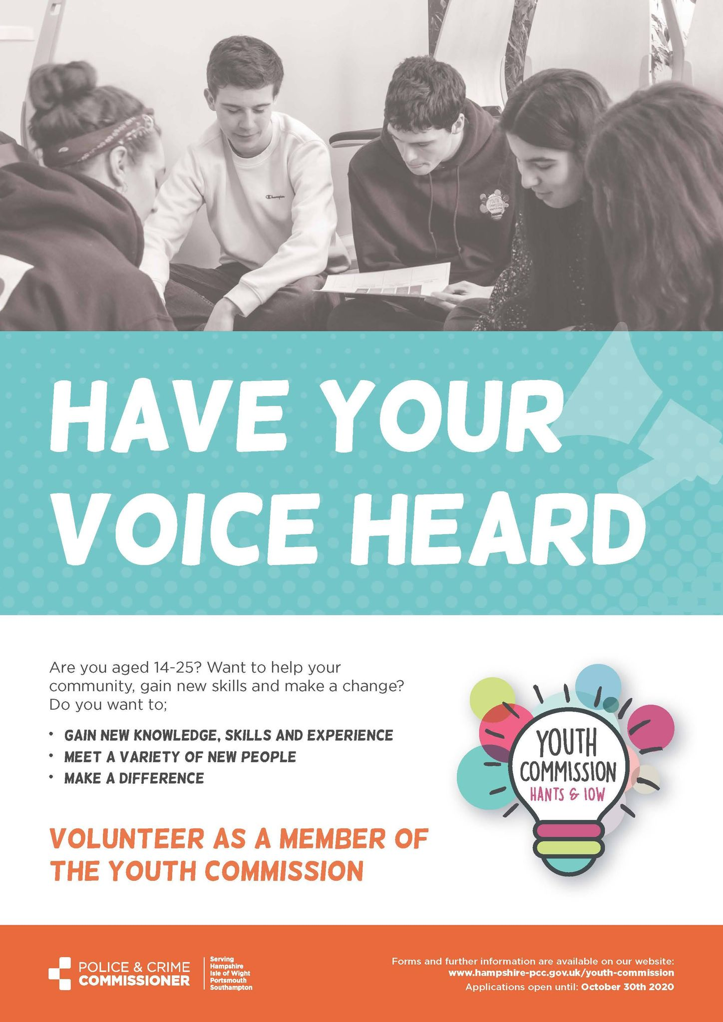 A poster encouraging young people to apply and volunteer as part of the youth commission