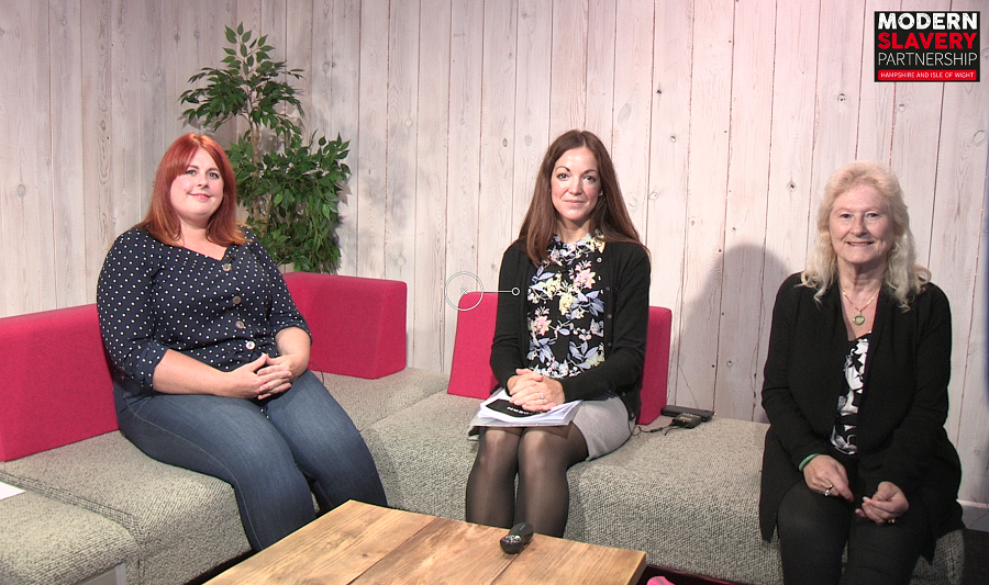 Kate Davis Modern Slavery Partnership Co-ordinator, Lynne Chitty from Love 146 and Ally Davies from Barnardo's National Counter Trafficking Service sitting social distanced on a sofa