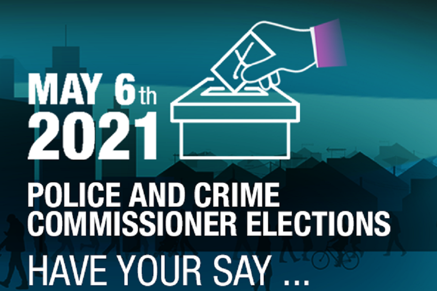 a silhouette skyline of houses and tower blocks in the background. White writing over th etop saying May 6th 2021 police and crime commissioner elections have your say. icon of a ballot box and a hand posting a ballot in it