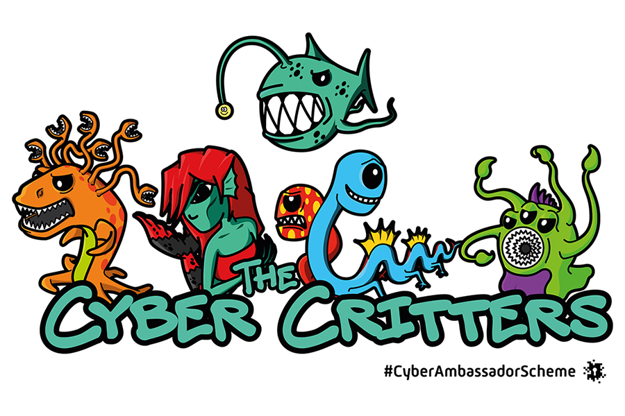5 Cyber Critters, from left to right; an orange character with a lime green belly; a red haired green character that looks similar to a mermaid; a character with 2 heads, a red-dotted-angry looking face and a blue-friendly looking face; and a light green with hints of purple character, with long arms, 3 eyes and swirling teeth. With the text 'The Cyber Critters and #CyberAmbassadorScheme next to the logo.