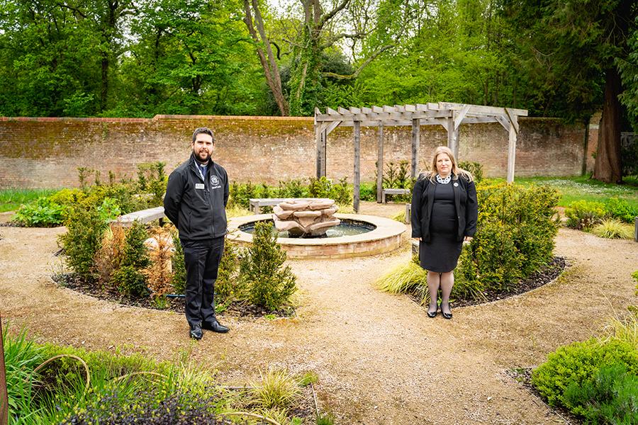 Police Chaplin Dom Jones with PCC Donna Jones in the memorial garden in Netley.